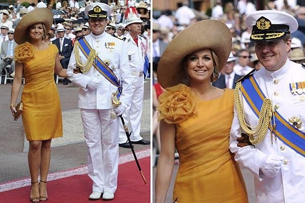 La princesa Máxima de Holanda volvió a apostar por el color mostaza (lo usó en su cumpleaños) para un vestido con drapeado diagonal y flor en uno de sus hombros; lo llevó con capelina de ala levantada. Foto: Reuters/AP/AFP/EFE