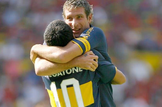 Román y Martín en la Copa Libertadores 2008, cuando aún tenían una buena relación.  Foto:Archivo