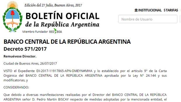 Por decreto, el Gobierno echó al director del Banco Central