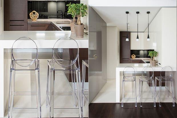 en este caso la barra se despega del centro de la cocina hacia un lateral se hizo de madera blanca tratada con pintura blanca