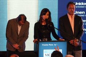 Ayer, Cristina Kirchner junto a Martín insaurralde y Daniel Scioli