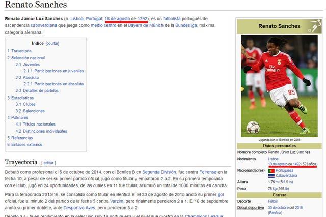 Así modificaron la edad de Renato en Wikipedia