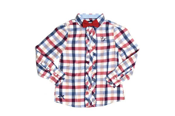Camisa a cuadros con shabot y moño (Pepe Jeans, $344).