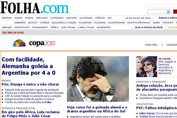 La derrota argentina, en los medios extranjeros.  /Folha (Brasil)