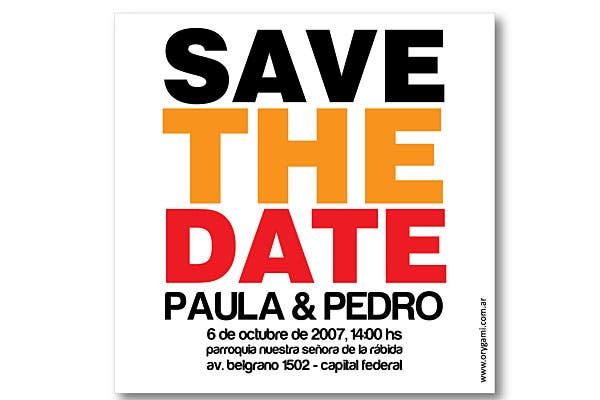 """Save the date"", lo it en Estados Unidos.  Foto:  Gentileza Orygami"