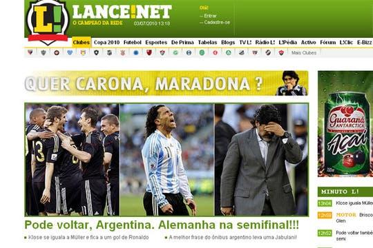 La derrota argentina, en los medios extranjeros. Foto: Lance (Brasil)