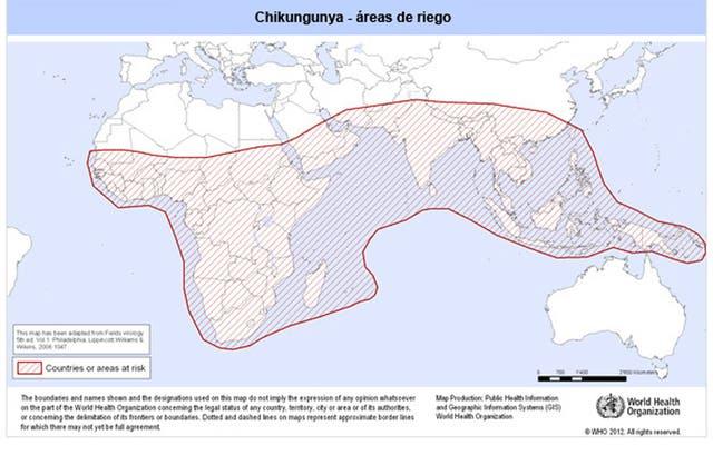 Según la OMS, la fiebre chikungunya se ha detectado en casi 40 países de Asia, África, Europa y América, aunque las zonas de riesgo son África, Asia e India