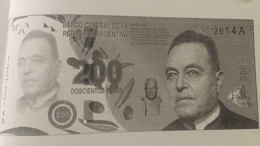 Vanoli mostró los billetes que preparó: Perón e Yrigoyen