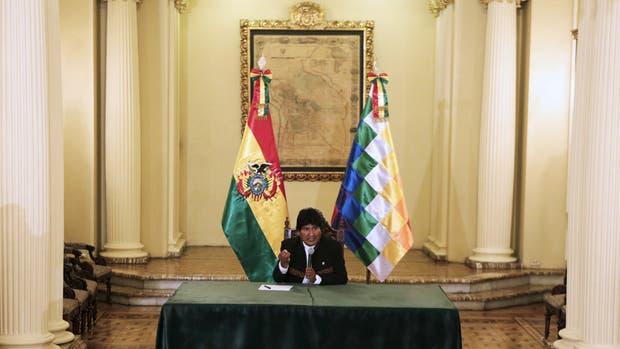 Evo Morales, durante la conferencia de prensa celebrada ayer en el palacio presidencial de La Paz