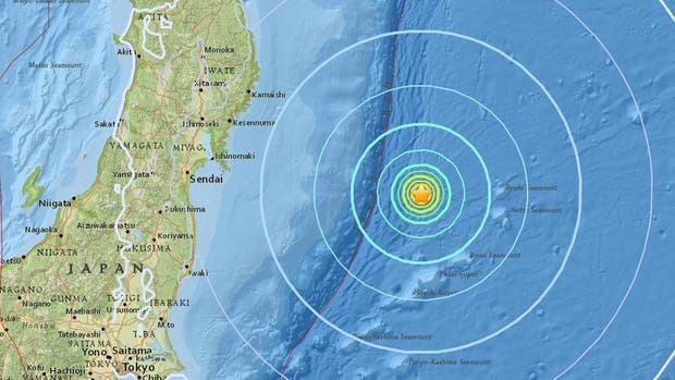 Un terremoto de magnitud 6,1 sacudió la costa este de Japón, a 281 km al este de la ciudad de Kamaishi