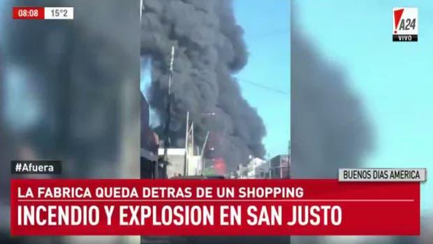 Explosión e incendio en una fábrica de San Justo: hay heridos