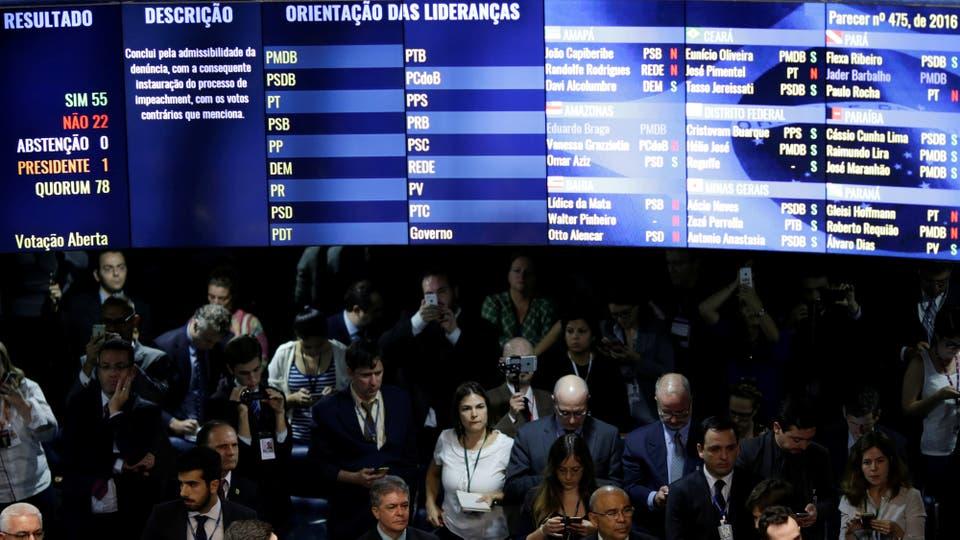 Con 55 votos a favor y 22 en contra, la Cámara alta decidió que Dila Rousseff  abandone el cargo por 180 días. Foto: Reuters