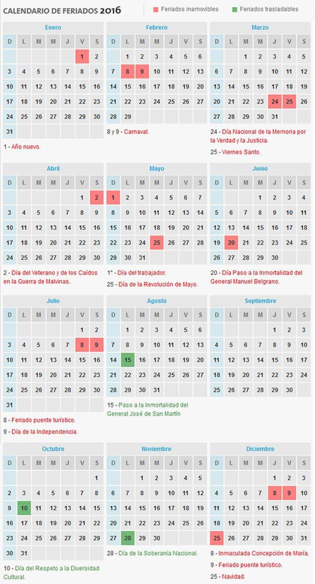 Cómo es el calendario de feriados para 2016? - 18.11.2015 - LA ...