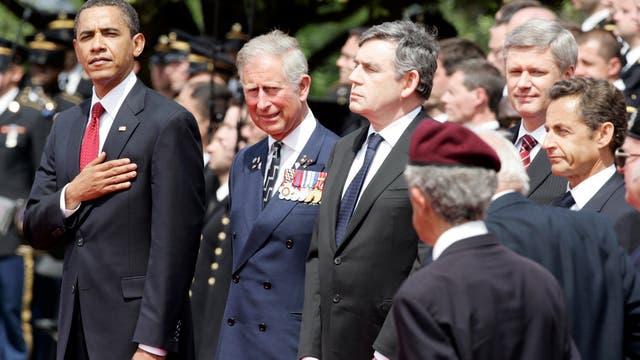 Junto a mandatarios de varios países conmemorado el desembarco de Normandía, junio de 2009