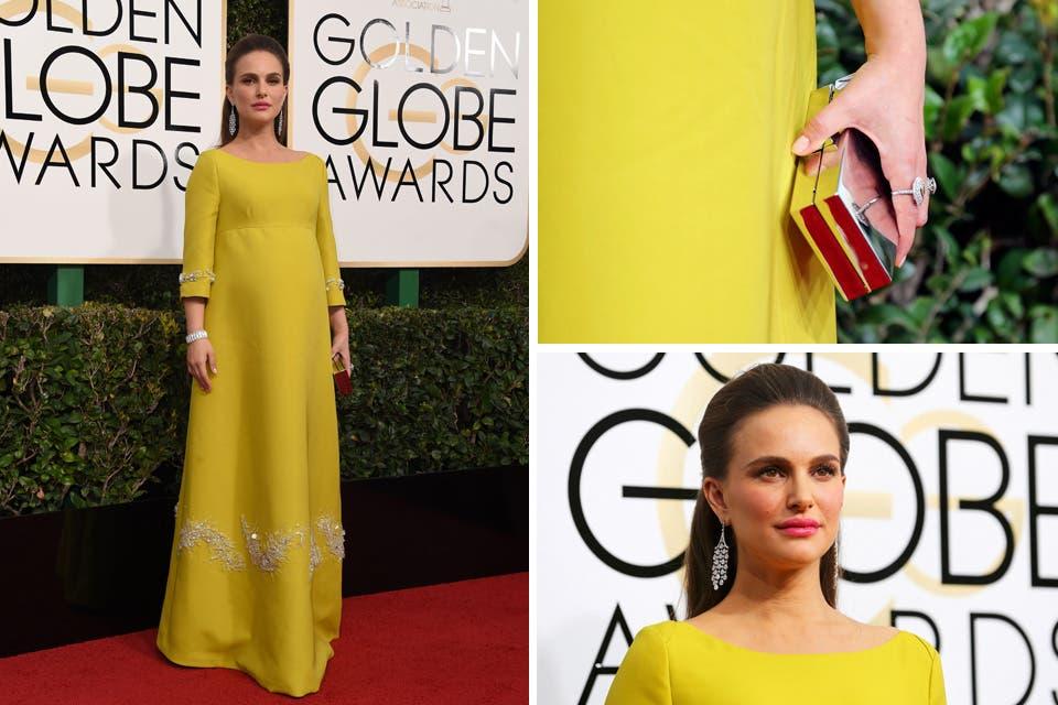 Natalie Portman obnubiló a todos con un vestido hecho por Prada que le quedaba espectacular. Sumó unas sandalias hechas a medida de Jimmy Choo, aros colgantes y clutch color plata. Foto: OHLALÁ! /Reuters, AFP