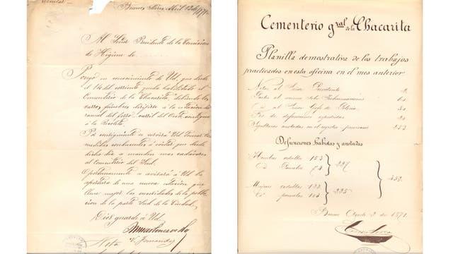Documentos oficiales de 1871 de la inauguración del cementerio en su primer lugar.