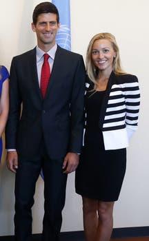 Djokovic estuvo en la ONU con su novia.