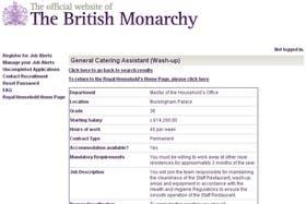 El aviso fue publicado en la sección de empleos de la web oficial de la monarquía británica