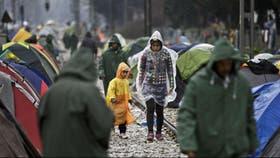 Refugiados sirios en el campo de Idomeni