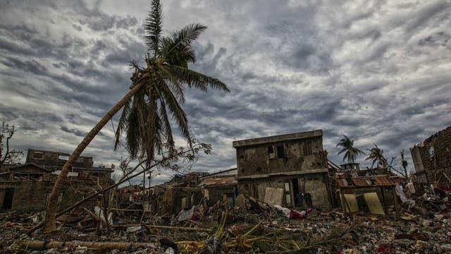 Destrozos generados en Haití por un huracán en 2016