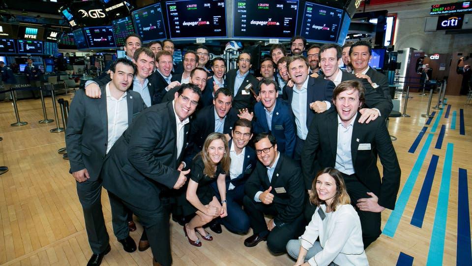El equipo de Despegar, hoy, durante el IPO en Wall Street