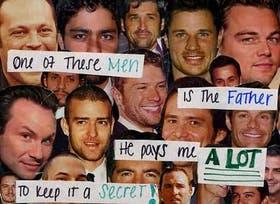 """""""Uno de estos hombres es el padre. Me paga mucho para guardar el secreto"""", reza una de las postales enviadas para publicarse en PostSecret."""