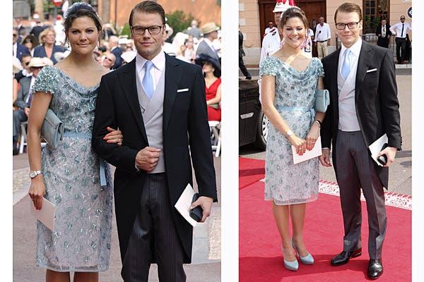 Victoria de Suecia eligió un vestido de la firma Escada de color celeste, con un importante trabajo de pedrería. Foto: Reuters/AP/AFP/EFE