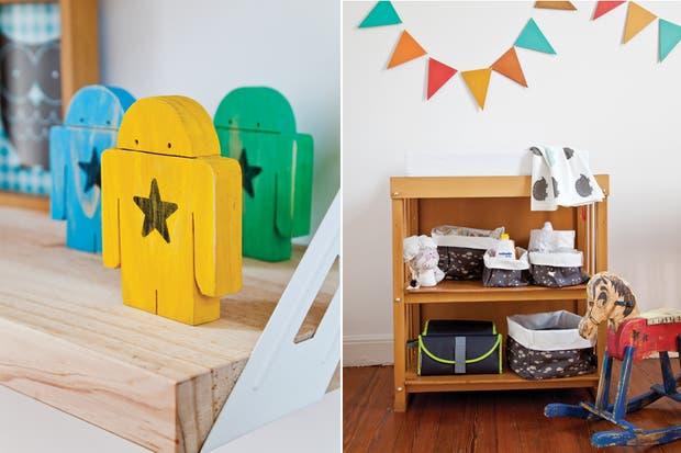 Tanto los estantes de madera sostenidos con ménsulas como el mueble bajo son diseños de Cinthia (el conjunto). Sobre los estantes, cuadro Pacman Boy (Tiny Things) y robots de madera de colores (Chapó Loló)..  /Magalí Saberian