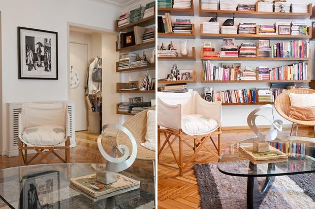 Soy fanática de las revistas. Esta biblioteca modular es un diseño de Isabelle Didot, que es justo lo que necesitaba: es discreta, ofrece un montón de espacio y puedo ir agrandándola a medida que lo necesite.