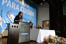 Cristina Kirchner durante el lanzamiento de Mirar para Cuidar, el 29 de mayo pasado