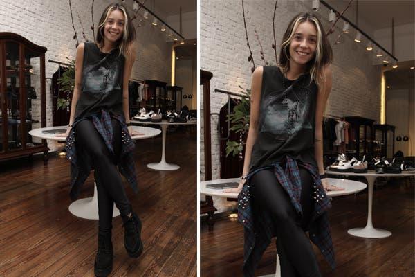 Lucía Celasco, con una onda muy rocker: musculosa estampada, camisa con tachas anudada a la cintura, calzas negras y zapatos acordonados con plataforma. ¿Te gusta su look?. Foto: Mass PR