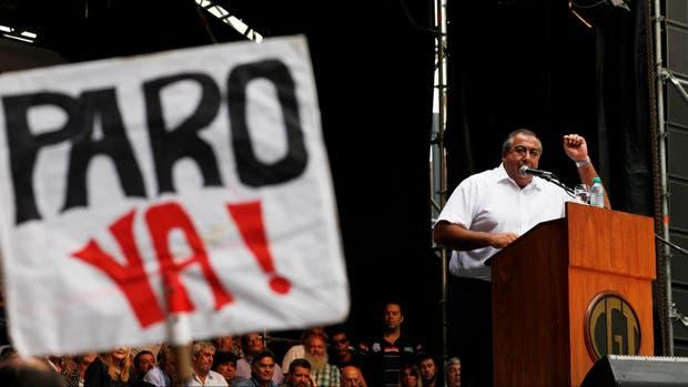 Héctor Daer durante el último acto de la CGT mañana anunciarán el próximo paro general