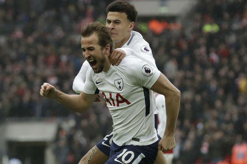 Kane, tras abrir el marcador en el clásico de Londres. Llegó a los 7 goles en 7 partidos ante Arsenal.