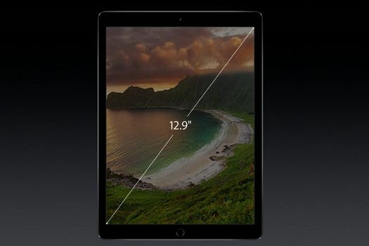 La pantalla del iPad Pro es de 12,9 pulgadas.