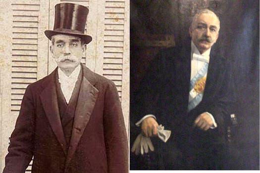 Unidos por la historia. Luis Sáenz (iz) Peña y Roque (de), su hijo. Ambos fueron Presidente de la Nación. Foto: Archivo