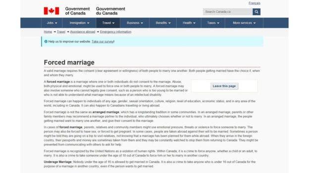 El gobierno de Canadá ha formado a su personal en algunas embajadas para atender casos de matrimonios forzados en los que sus ciudadanos pueden ser las potenciales víctimas