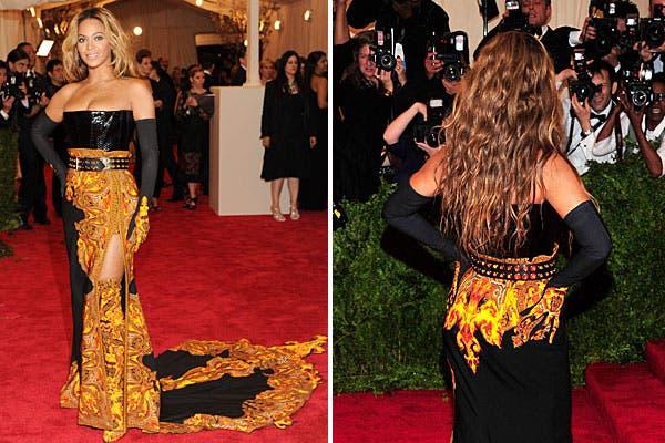 ¿Qué te parece el look de Beyonce? El vestido de Givenchy parece en llamas. Foto: AP, AFP y Reuters