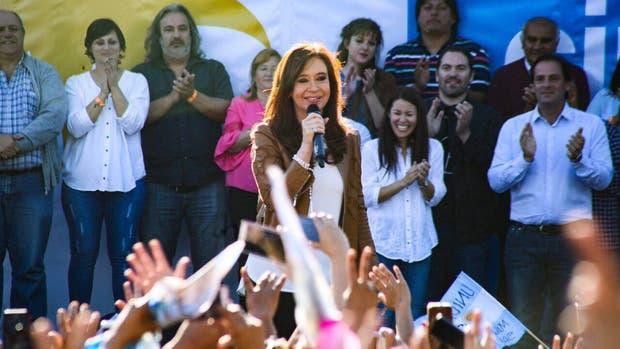La ex presidenta y candidata a senadora nacional por Unidad Ciudadana, Cristina Kirchner, en un acto en Escobar