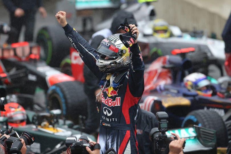 El festejo de Vettel. Foto: EFE