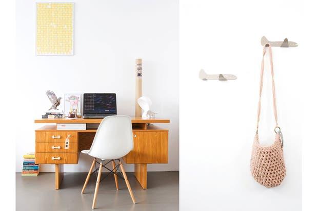 Los 50 actualizados: un antiguo escritorio combinado con el famoso modelo de silla Dining Side Wood, de Eames. Foto: Bloesem.