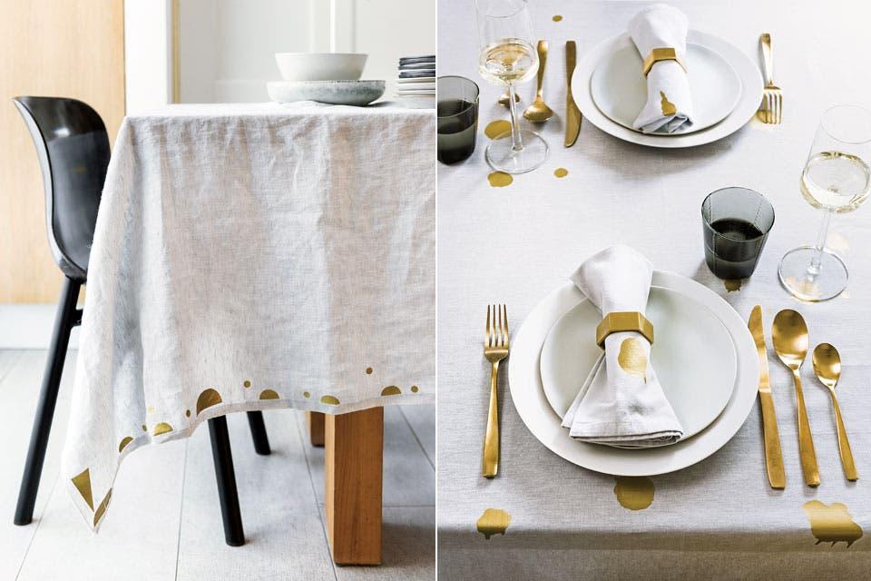 Para pasar del té a la comida, cambio de mantel, pero en la misma sintonía. Y con humor.  Foto:Living /Sjoerd Eickmans