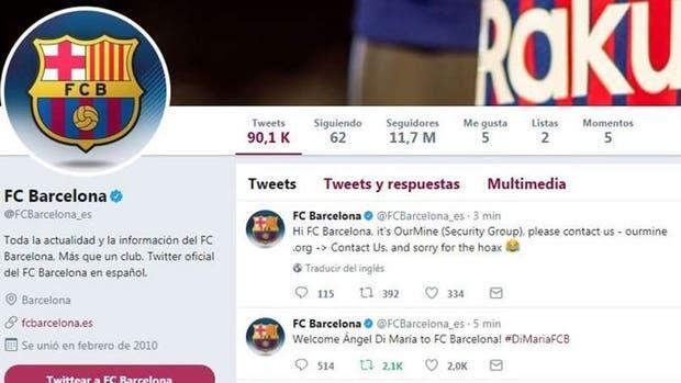 Así anunció la cuenta hackeada de Barcelona la llegada de Di María