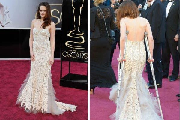 Con un vestido largo hasta los pies que no le impidió llegar en muletas, la actriz de crepúsculo, Kristen Stewart, eligió la propuesta de la diseñadora Reem Acra. Foto: AP