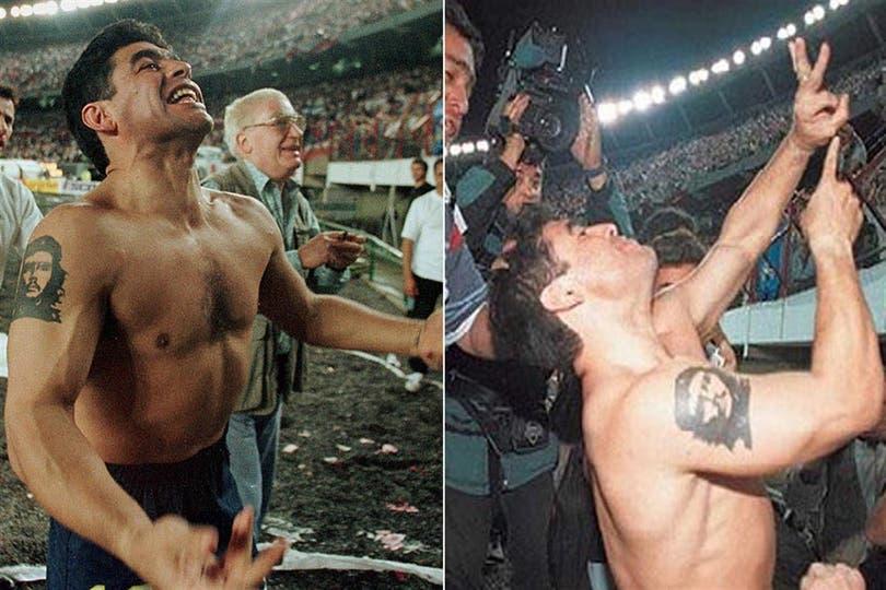 El festejo alocado de Maradona, tras el 2 a 1 a River. Foto: Archivo