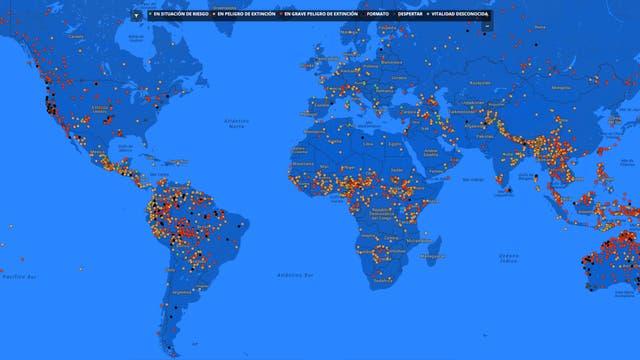 El mapa muestra todas las lenguas en peligro de extinción