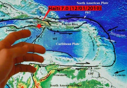 Un mapa muestra el epicentro del terremoto que golpeó Haití.. Foto: Reuters