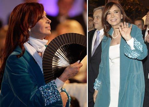 Para ver el desfile, se abrigó con un pesado tapado en azul cerúleo con piedras bordadas en los puños; con su vestido blanco, emulaba a la bandera argentina. Foto: LA NACION y agencias