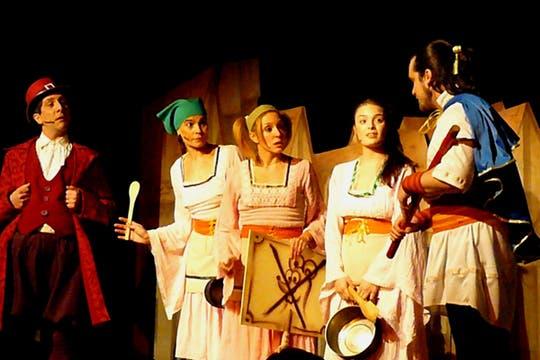 El flautista de Hamelin, en el teatro Tabarís, con Millie Stegmann, Florencia Otero y Germán Tripel.. Foto: Tiff