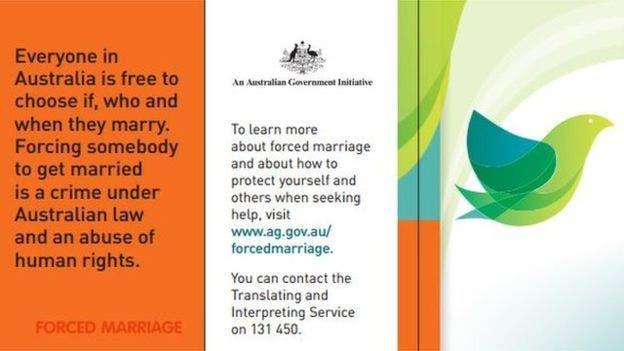 En Australia, el matrimonio forzado es un crimen. Esta tarjeta es parte de la campaña informativa y preventiva de las autoridades