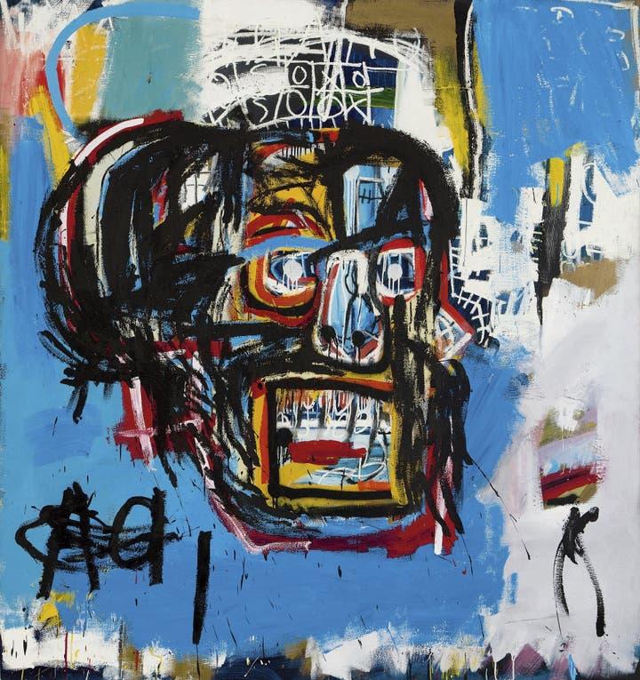 Con pintura en aerosol y óleo en barra, Basquiat hizo a los 21 años el cuadro del récord foto: AP